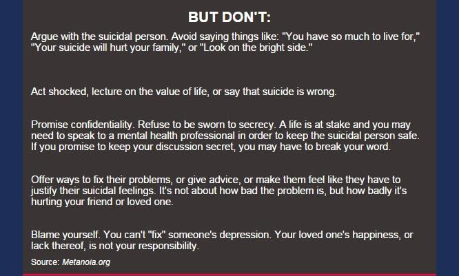 what to say when someone commits suicide